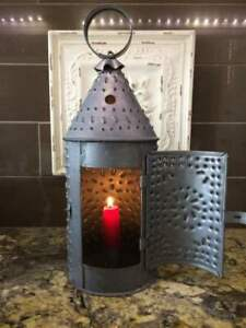 Vintage Pierced Punched Tin Candle Lantern