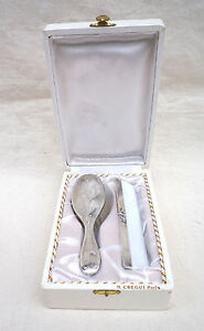 French Silverplate Baby Hair Set Brush Comb Christening Box Paris