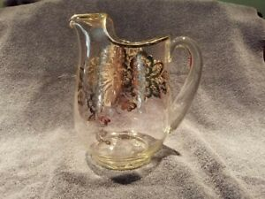 Vintage Glass Pitcher With Silver Overlay Flowers And Butterfly Patern Nice
