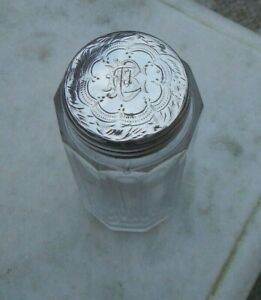 Antique Victorian 1897 Silver Top Cut Glass Dressing Table Toiletries Bottle Jar