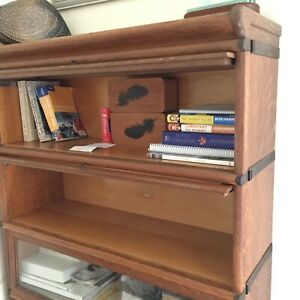 Antique Oak Lawyers Barrister Cabinet 4 Sectional Stacking Bookcase 1900s