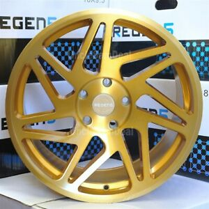 18x8 5 36 Offset 5x120 Regen5 R31 Brush Gold 7 Y Spokes Twist Euro Wheels Set