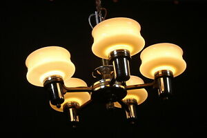 Vintage 5 Arm Chandelier Ceiling Light Fixture 5 Custard Glass Shades Incomplete