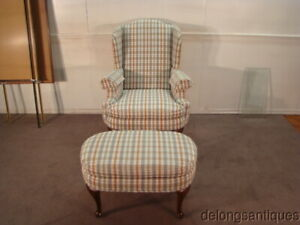 49726 Henredon Queen Anne Wing Back Chair Stool