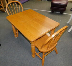Kids Childs Formal Traditional Amish Oak Dining Table W 2 Chairs