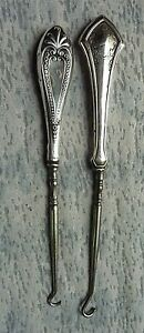 2 Antique Sterling Silver Button Hooks Victorian