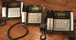 Lot Of 3 Rca 25424re1 Visys 4 Line Business Phone Desk Telephones Tested