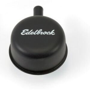 Edelbrock 4413 Signature Black Steel Push In Valve Covers Breather W 90 Pcv