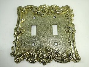 Vtg 1967 American Tack Hardware Double Switch Plate Cover Ornate Filigree Gold