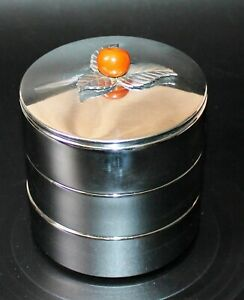 Vintage Chase Usa Art Deco 3 Tiered Chrome Round Container W Bakelite Apple
