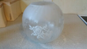 Large Vintage Opaque Etched Glass Oil Globe Lamp Shade