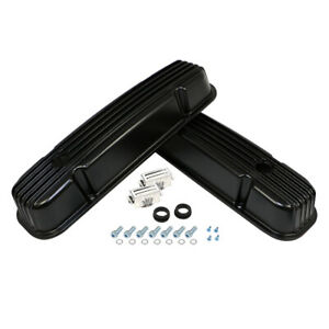 Pontiac 350 455 Retro Fin Powder Coated Black Aluminum Valve Covers 389 400 421