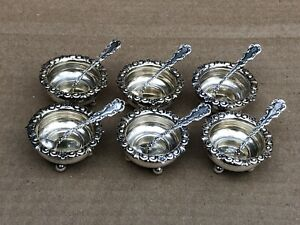 Ornate Sterling Silver Salt Cellars Set Of 6 With Spoons Antique