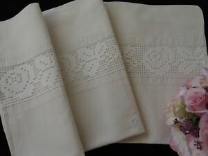 Antique Heavy Linen Farmhouse Country Linen Pillowcase R Monogram Lace 72 5 X 72