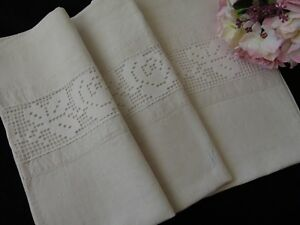 Antique Heavy Linen Farmhouse Country Linen Pillowcase K Monogram Lace 72x74 Cm