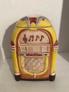 WURLITZER JUKEBOX COOKIE JAR CANISTER Treasure Craft Made in USA