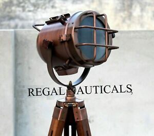 Copper Antique Finish Brass Spot Light With Wooden Tripod Stand Home Decor