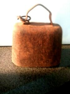 Rustic Primitive Antique Pressed Steel Cow Bell W Original Metal Ball Clanger