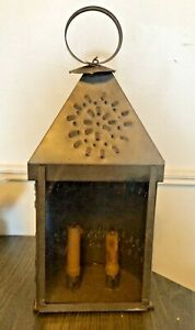 Vtg Farm Antique Punched Pierced Light Tin Old Barn Candle Lantern Primitive