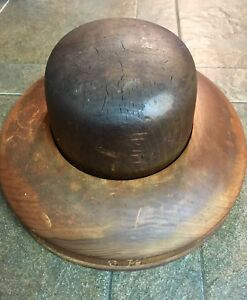 Antique Millinery 2 Part Wooden Hat Brim Form Block Wood Mold 6 7 8