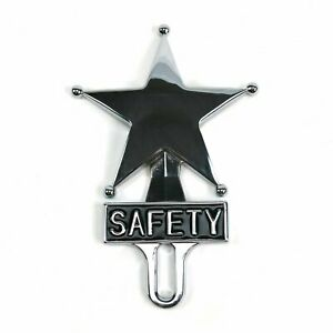 Retro Vintage Safety Star Chromed License Plate Topper Fits Ford Chevy Dodge V8