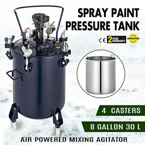8 Gallon 30l Spray Paint Pressure Pot Tank 8 Gal Wide Base 4 Clamps Hot Updated
