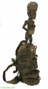 Dan Guere Mask Large Mouth And Figure On Top African Art