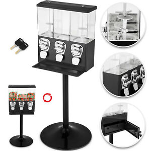 Triple Bulk Candy Vending Machine 3 head Gumballs Adjustable Black For Shop