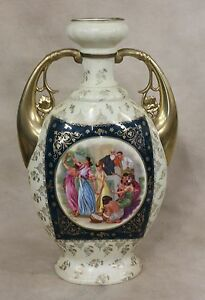 Tall Royal Vienna Style Austria Portrait Urn Vase Classical Scene Floraliu