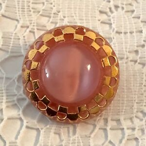 Vintage Pink Moonglow Raised Center Button With Checkerboard Gold Luster Border