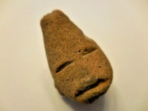 Antique Pre Columbian Carved Stone Head Face Mask 6