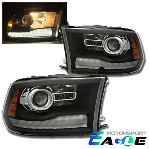 Fit 2009 2018 Dodge Ram 1500 2500 3500 Black Led Drl Projector Headlights