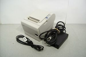 Micros Epson Tm t88iii M129c White Usb Printer W Power Supply Tested