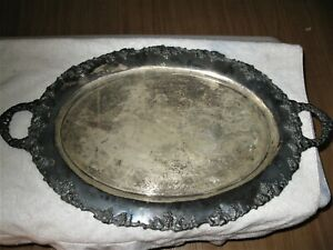 Vintage Sheffield Silver On Copper Large Gallery Tray Decoration Footed Heavy