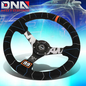 Nrg Rst 036mb s kmr 350mm 3 deep Dish Suede Steering Wheel W orange Canter Mark