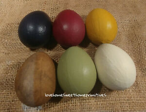 Primitive Paper Mache Eggs Set Of 6 Burgundy Navy Mustard Green Ivory