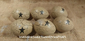 Primitive Crackle Painted Tan With Black Stars Paper Mache Eggs Set Of 6