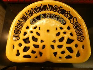 John Wallace Glasgow Vintage Cast Iron Tractor Implement Seat Farm Collectables