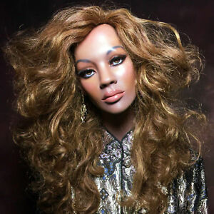 Vintage Mannequin Wig Bust African Black Female Realistic Glass Eyes Beyonce