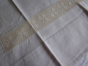 Pair Antique Irish Linen Pillowcases Filet Lace Inserts Pintucked Borders