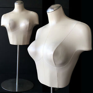 Pearl Vintage Style Female Mannequin Bust Form Shirt Bra Necklace Retail Display