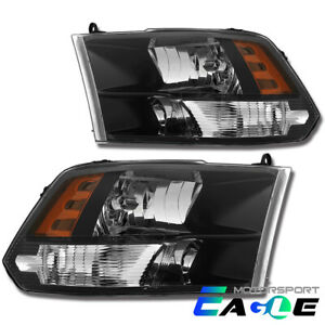 anti fog Polished Black Quad Headlights For 2009 2018 Dodge Ram 1500 2500 3500