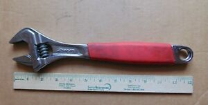 Snap on Tools 12 Flank Drive Plus Red Cushion Grip Adjustable Wrench Fadh12a