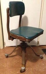 Rr Antique Metal Desk Chair With Rr On Knobs Green And Brown