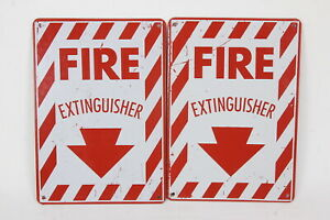 2 Fire Extinguisher Signs Red White 10 X 7 Heavy Metal Wall mounting