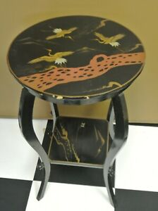 Vintage Japanese Painted Scene Of Cranes Flying Black Lacquer Table