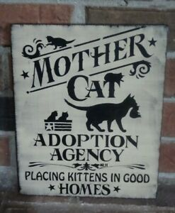 Primitive Black Cat Sign By Nancy Mother Cat Adoption Agency Hp Antique White