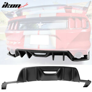 Fits 15 17 Ford Mustang Hn Style Rear Bumper Lip Diffuser 3pc Matte Black Pp
