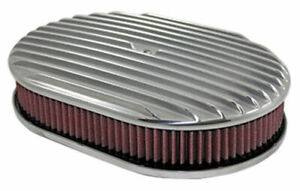 Finned Aluminum Air Cleaner 12 Oval Washable Filter Satin Finish Sb bb 350 383