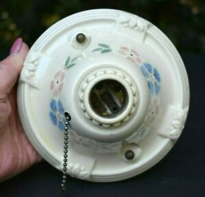 Vintage Art Deco Porcelain Ceramic Ceiling Floral Light Fixture Single